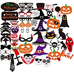 PBPBOX Halloween Photo Booth Props, 52 Pcs