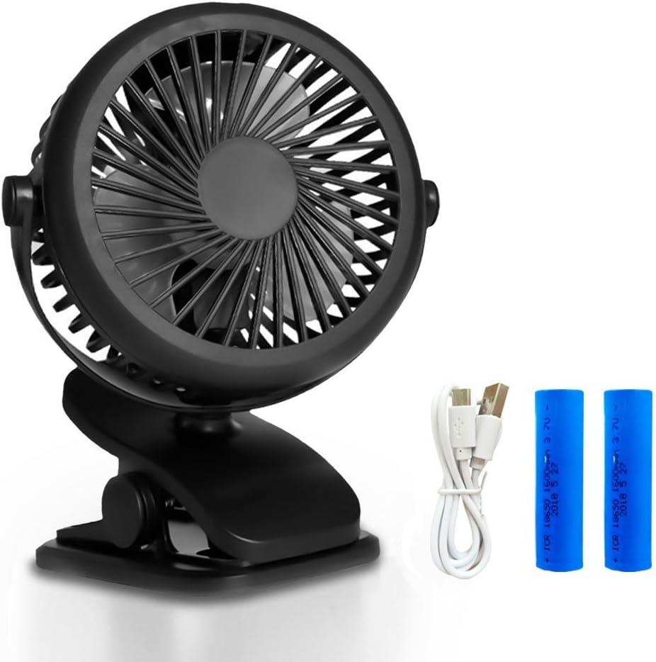 Queta Ventilador Portátil con Clip USB o Batería Recargable de 1600mAh 360°Ajustable Bajo Ruido para Cochecito de Bebé,Oficina, Hogar, Actividades al Aire Libre (Negro)