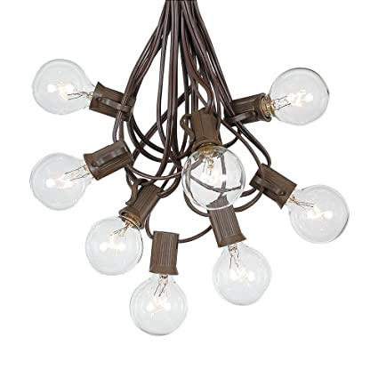 G40 Patio String Lights With 25 Clear Globe Bulbs   Hanging Garden String  Lights   Vintage