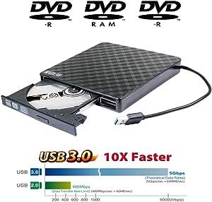 Portable USB 3.0 External DVD Drive 8X DVD+-R/RW DL Burner for Acer 5 Nitro Aspire 5 E 15 Inspire E15 Predator Helios 300 Gaming Laptop Computer, Super Super Multi 24X CD-RW Writer Black Plaid Pattern