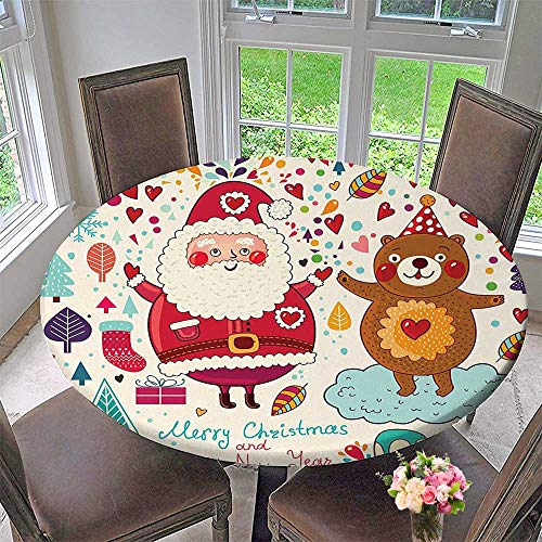 (Mikihome Round Premium Tablecloth Collection Merry Santa and Teddy Bear Vintage Christmas Ornaments Party Kids Room Nursery Stain Resistant 47.5