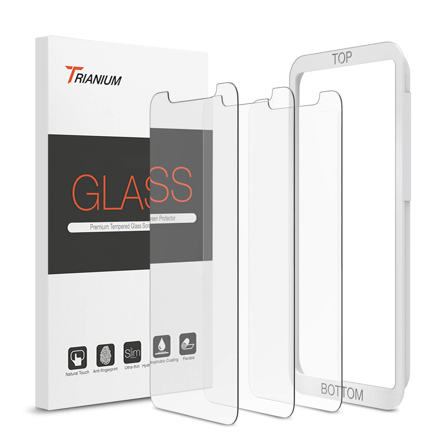 """Trianium (3 Packs) Screen Protector Designed for Apple iPhone 11 and iPhone XR (6.1"""" 2018) Premium HD Clarity 0.25mm Tempered Glass Screen Protector with Easy Installation Alignment Case (3-Pack)"""