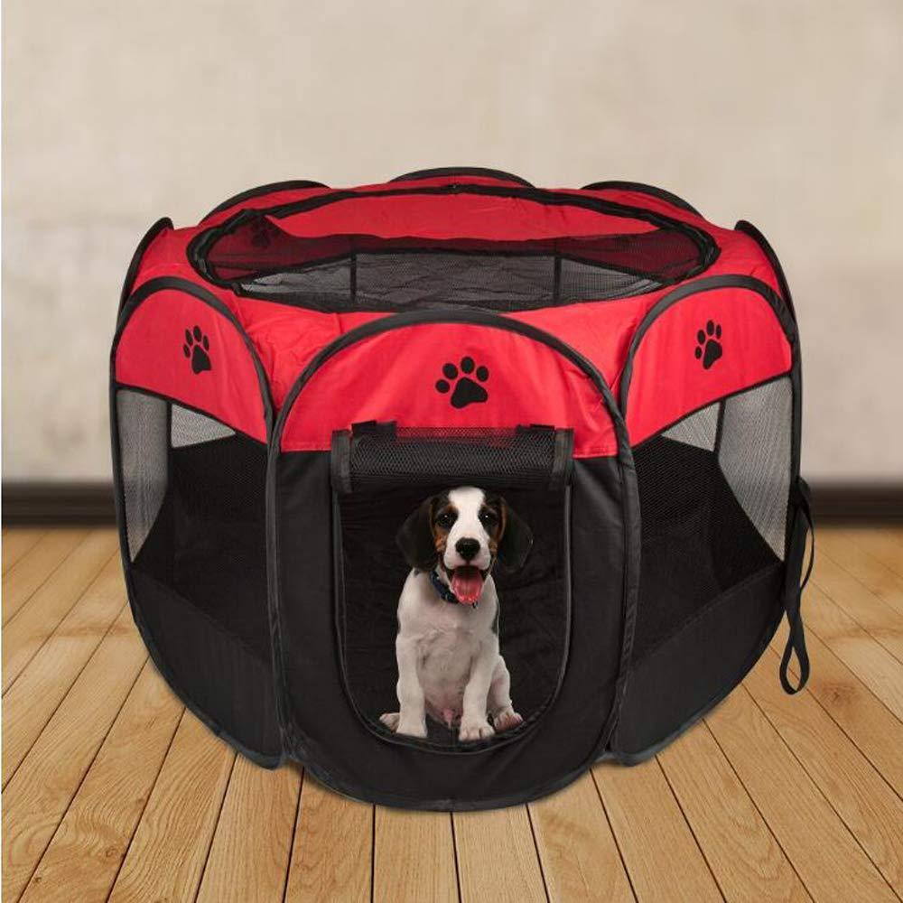 HKANG Style Recinzione per Cuccioli Recinto Grande per Animali da da da Usare all'Interno e all'Esterno- Facile da Montare Pieghevole del,Red,L 3f656f