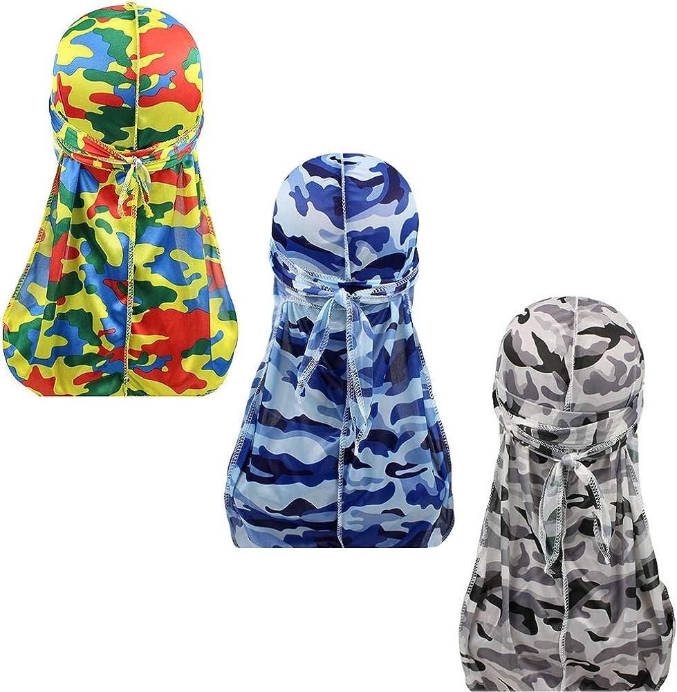 ALIDIA 4 Pieces Paisley Durag Silky Pack for Men 360 Waves Paisley Bandana Doo Rag Cap
