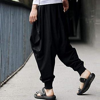 Men's Casual Harem Pants Cotton Linen Festival Baggy Solid Trousers Retro Gypsy Pants Available S-3XL
