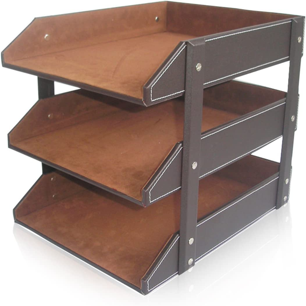 KINGFOM Letter Tray, Leather Paper Organizer Tray, Wooden Desk File Holder, Desktop File, Stackable Magazine Holder, Mail Sorter, Great for Home or Office - 3 Level Brown