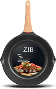 ZIB Induction Nonstick Frying Pan Skillet Stone Pan for Eggs Child Protection Function Granite Coating from Germany(11inch)