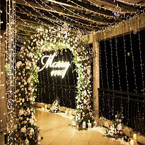 Neretva 306 LED Window Curtain String Light, Twinkle String Fairy Lights, 9.8x9.8ft, 8 Modes Linkable,LED String Lights for Christmas Party Wedding Patio Lawn Garden Decorative Lights (Warm -