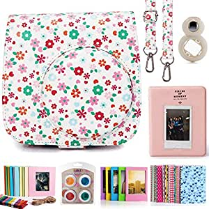 Ozone 9 Item Accessories Kit for Fujifilm Instax Mini 9, 8 olus, 8 Camera, Bundle with Case, Album, Filters & Other Accessories Gift Set Box, Floral