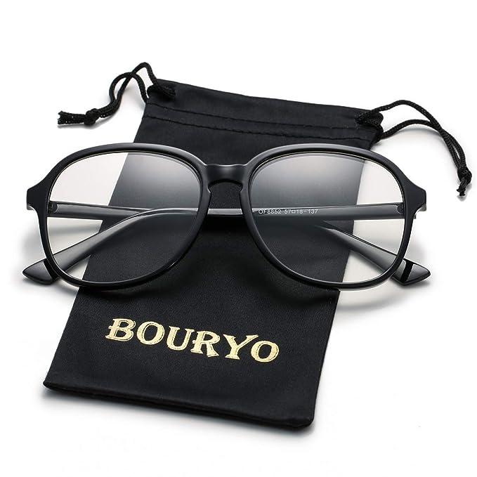 7c7cdd8ab4 BOURYO Unisex Stylish Non-prescription Glasses Square Candy Colored Frame  Clear Lens Hip Hop Eyeglasses