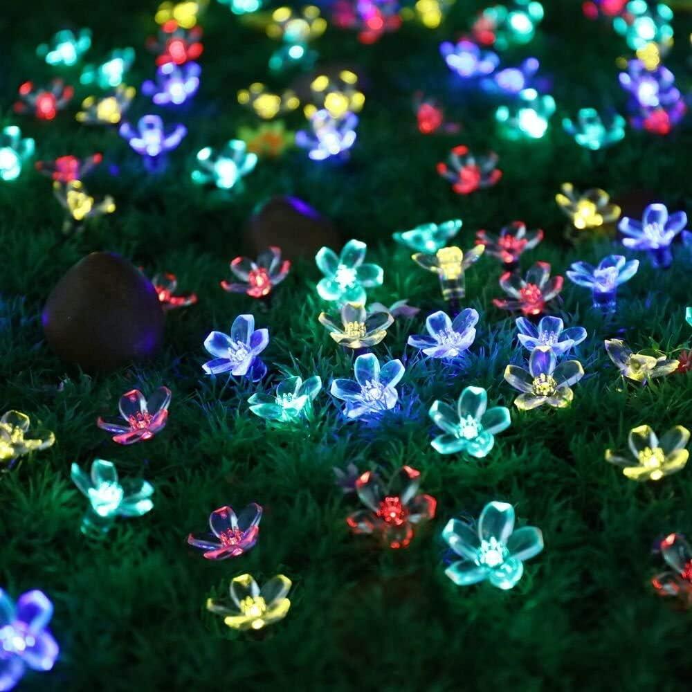 Newfly Solar Flower Strings Lights, Solar Fairy Lights 22 Ft 50 LED Plastic Flowers Solar Powered Light String ,Solar Fairy Lights-Waterproof Home Garden Decor