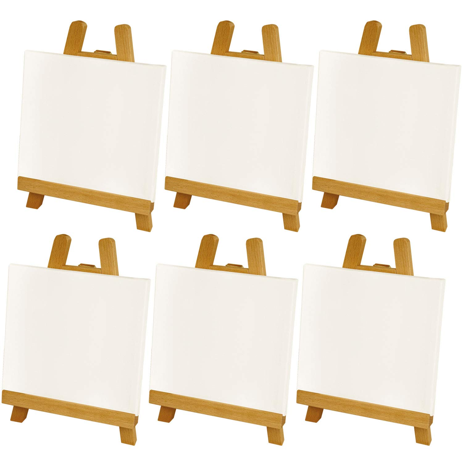 U.S. Art Supply Artists 8''x8'' Stretched Canvas & 10-1/2'' Natural Easel Set Painting Craft Drawing - Set Contains: 6 Canvases & 6 Easels