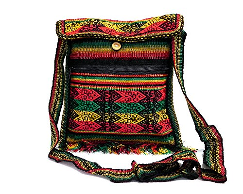 Peruvian Multicolored Tribal Striped Material Casual Travel Lightweight Square Fringe Purse Bag Zipper Pocket Crossbody Strap ()