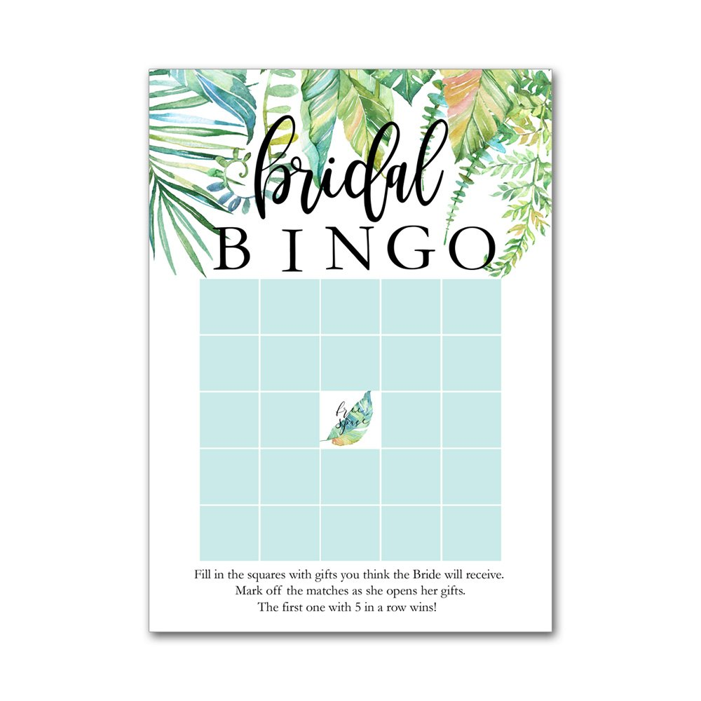 Bingo Game Cards for Bridal Wedding Showers with Watercolor Tropical Leaf Leaves BBG8018 by Heads Up Girls