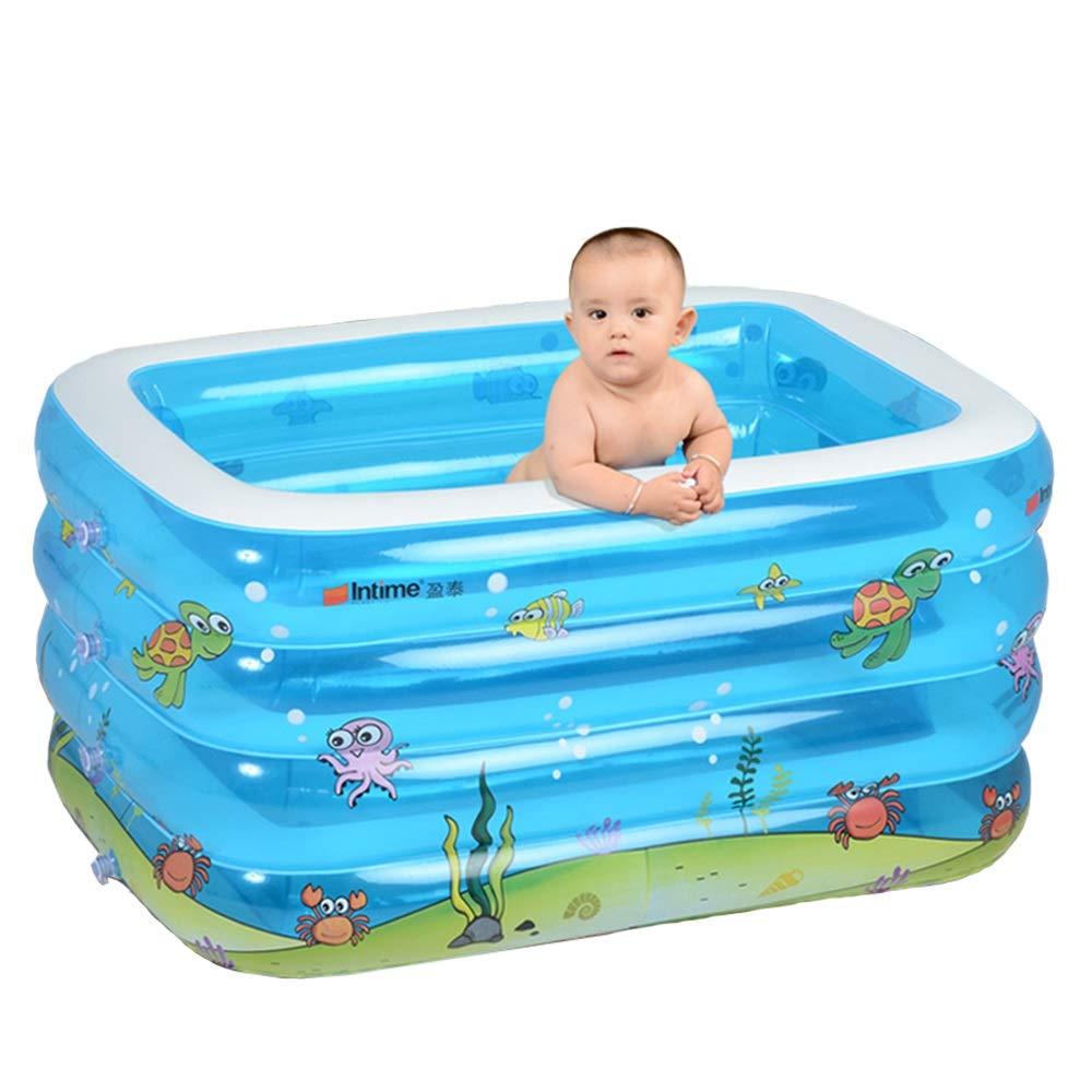 Das Schwimmbad der Kinder, Haushaltsplastik transparentes neugeborenes Babyschwimmeneimer-aufblasbare Badewanne Dickes Blau