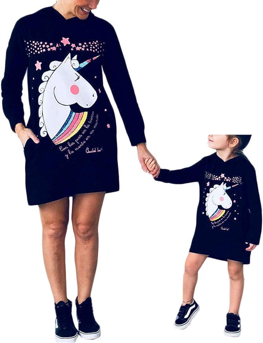 Vestidos Madre e Hija Iguales de Fiesta Manga Larga Impresión Unicornio para Niños Bebés Familias Ropa Vestido Mamá y Niña