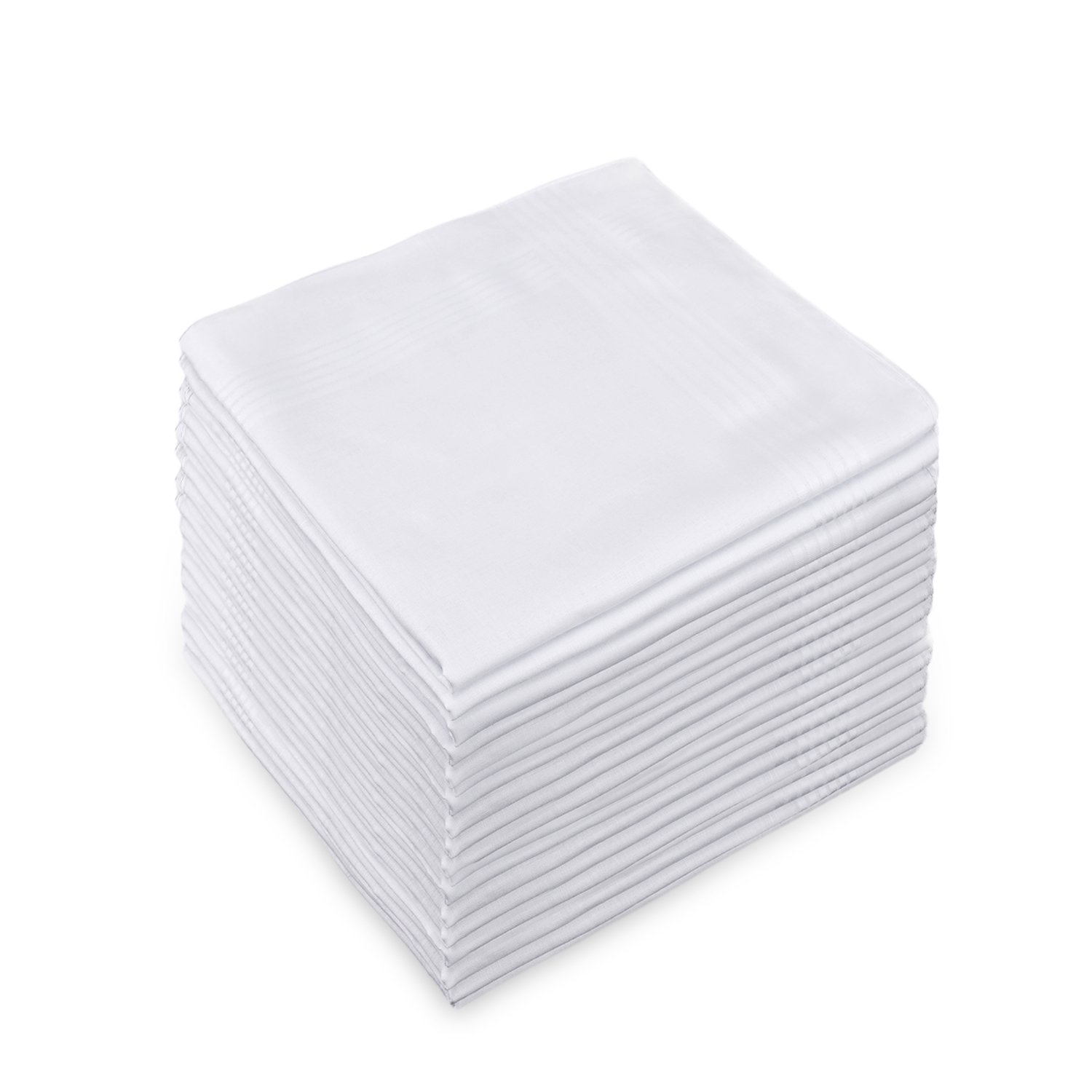 12 Pack Men's Handkerchief White 100% CottonClassic Hanky (12pcs)
