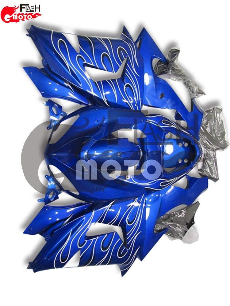 FlashMoto kawasaki 川崎 カワサキ ZX-10R ZX10R Ninja 2006 2007用フェアリング 塗装済 オートバイ用射出成型ABS樹脂ボディワークのフェアリングキットセット ブルー   B07L89JSX2