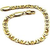 Lussuoso bracciale placcato in oro da uomo, larghezza 5 mm, oro 18 ct, BB110