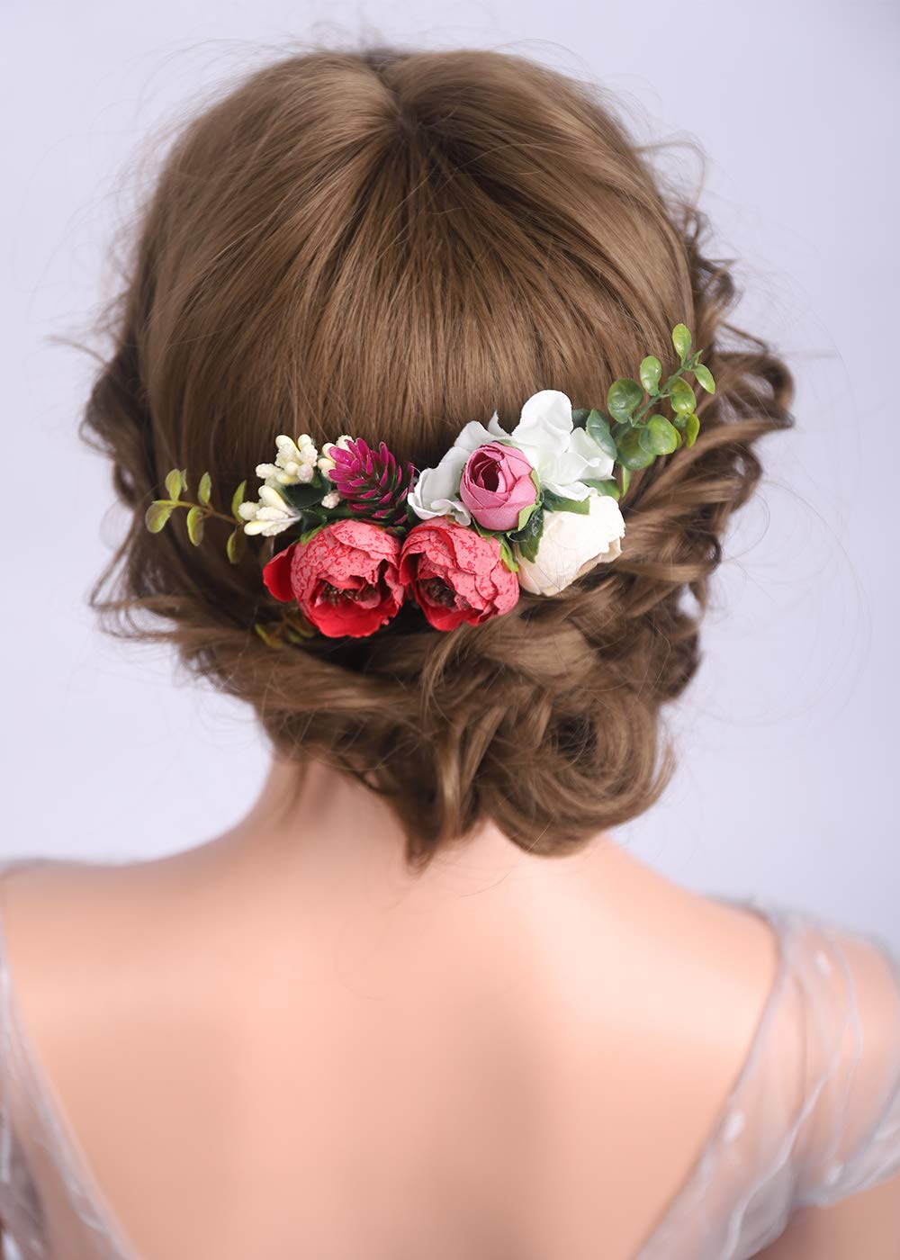 Luxury Hair Comb Purple Black Red Rose Bun Wedding Hair Decoration accessories