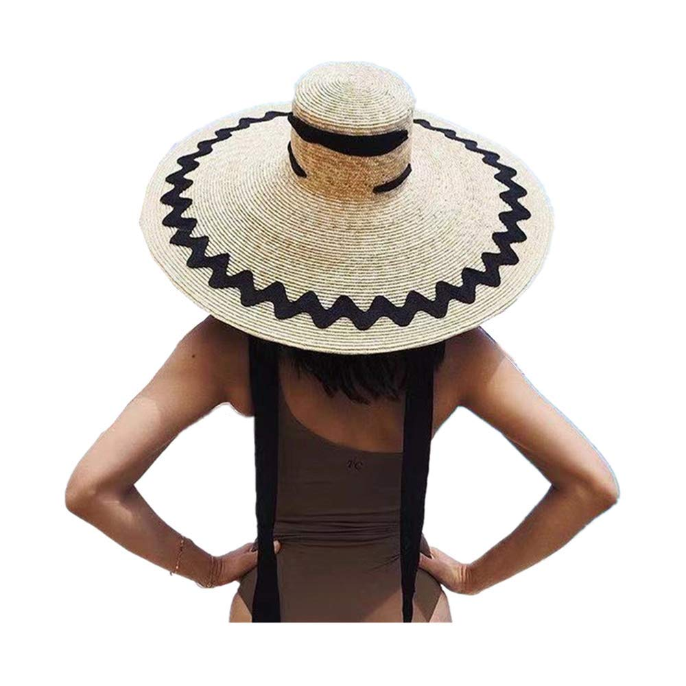 JJLIKER Womens Sun Straw Hat Oversized Wide Brim Summer Hat Foldable Roll up Floppy Beach Hats Cap Packable for Travel