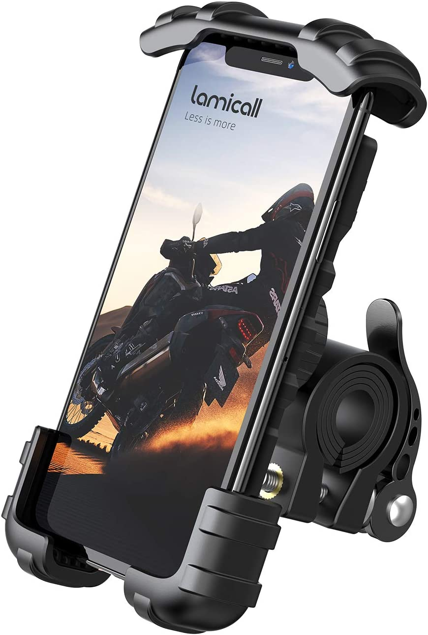 Lamicall Soporte Movil Bicicleta, Soporte Motocicleta - Rotación 360° Soporte Manillar para iPhone 12 Mini, 12 Pro Max, 11 Pro, XS Max, X, XR, 8, 7, 6S, Samsung S10 S9 S8, Huawei, 4.7-6.8