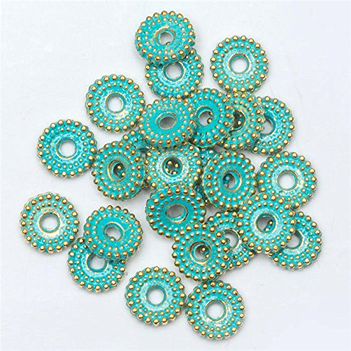 100 Pieces Vintage Green and Gold Wheel pattern Tibetan Silver Spacer Beads for Bracelet Jewelry Making - Metal Spacer Beads - Jewelry Making Beads - Beads for Jewelry - Vintage Spacers