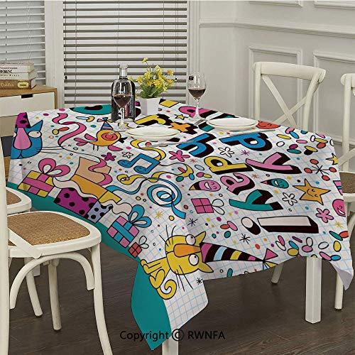 RWNFA Long Tablecloth,Math Note Pad Inspired Cartoon Animals Cats Present Image(50