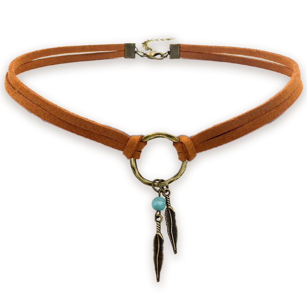 Suede Choker Necklace for Women, Native American Indian Jewelry Bohemian Feather Handmade Leather Jewelry