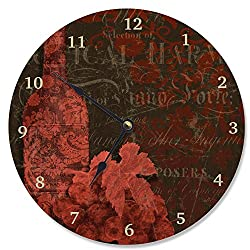 Stupell Home Décor Damask Wine Vanity Clock, 12 x 0.4 x 12, Proudly Made in USA