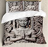 Asian Decor Duvet Cover Set by Ambesonne, Antique Sculpture in Traditional Thai Art with Swirling Floral Patterns Carving Japanese Decor, 3 Piece Bedding Set with Pillow Shams, Queen / Full, Bronze