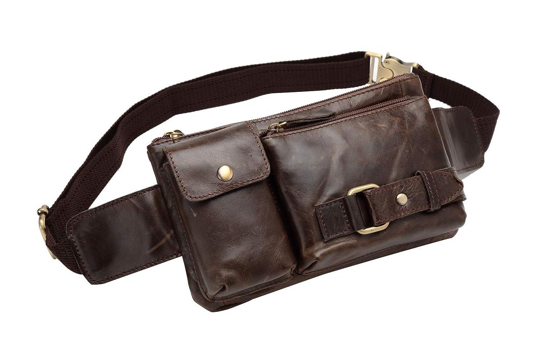 d4b4206110 Amazon.com | BISON DENIM Leather Waist Pack Fanny Pack Men's Hip Purse  Travel Hiking Bum Bag Belt Bag Green | Waist Packs