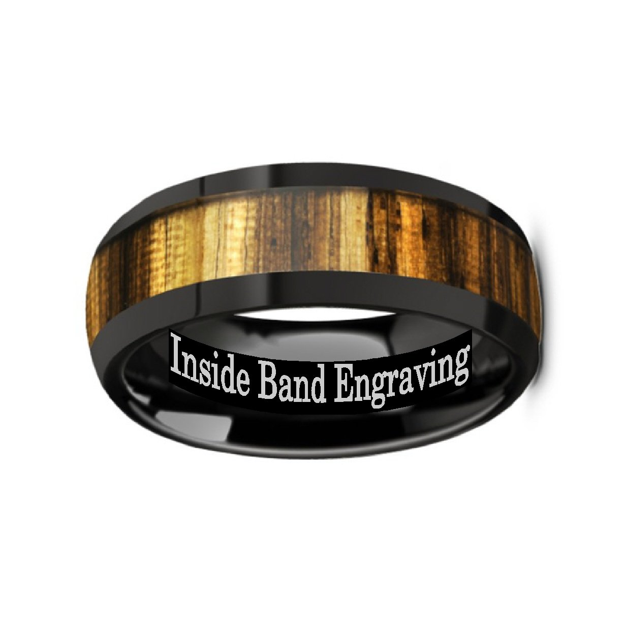 Thorsten ZERRA Black Ceramic Polished Finish Men/'s Domed Wedding Ring with Genuine Golden Zebra Wood Inlay 8mm Custom Personalized Inside Engraved by Roy Rose Jewelry