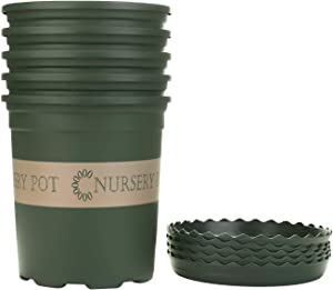 Akarden 5PCS 1 Gallon Nursery Pot Garden Planter Pots Nursery Plant Container with 5PCS Pallet (ArmyGreen)