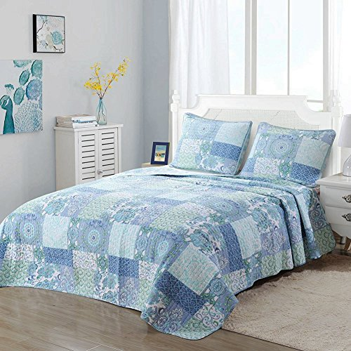 Cozy Line Home Fashions Peace Love Bedding Quilt Set, Turquoise Blue Aqua Green Flower Pattern Patchwork 100% COTTON Reversible Bedspread, Coverlet Gift For Women (Peace Love, King - 3 (Peace Quilt)