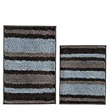 HEBE 2 Piece Striped Bath Rug Set Non Slip Bathroom Rug Mat Set of 2 Absorbent Bath Mats for Bathroom Set Machine Washable