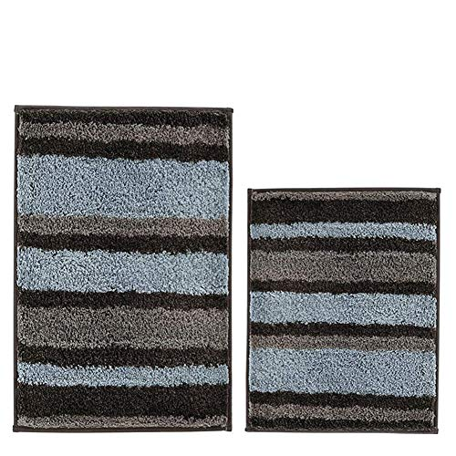 HEBE 2 Piece Striped Bath Rug Set Non Slip Bathroom Rug Mat Set of 2 Absorbent Bath Mats for Bathroom Set Machine Washable ()