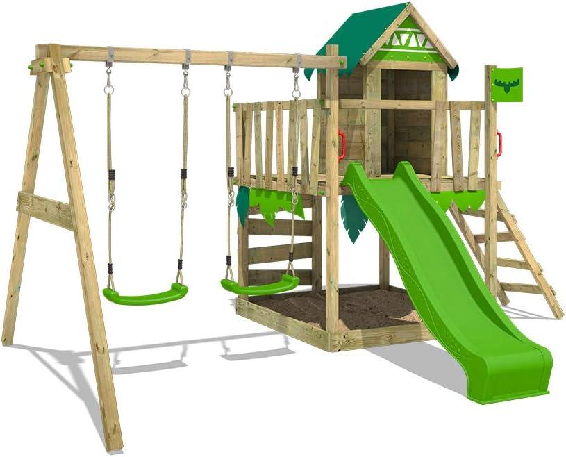 FATMOOSE Parque infantil de madera JazzyJungle Jam XXL con columpio y tobogán manzana, Torre de escalada da exterior con arenero y escalera para niños