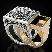 Esquirla Anillos vikingos de joyería de Hip Hop con anillo de león de combinación para hombre - Dorado + Plata 11