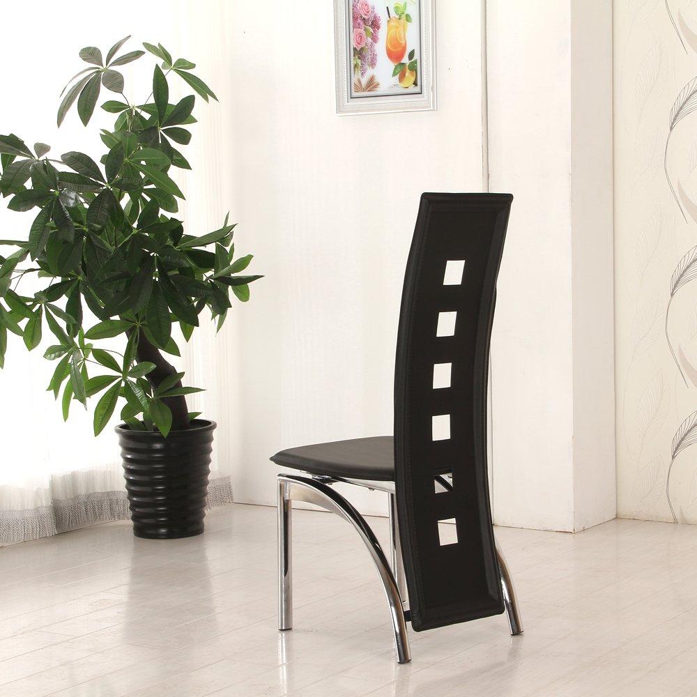 OSPI 4 x Comedor Negro de Alta Espalda sillas de Comedor de Piel sintética Agujeros Cromado Patas: Amazon.es: Hogar