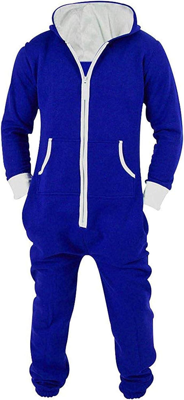 Lu's Chic Men's Hooded Onesie Union Suit Non Footed Warm Zipper Long Playsuit Pajama Jumpsuit