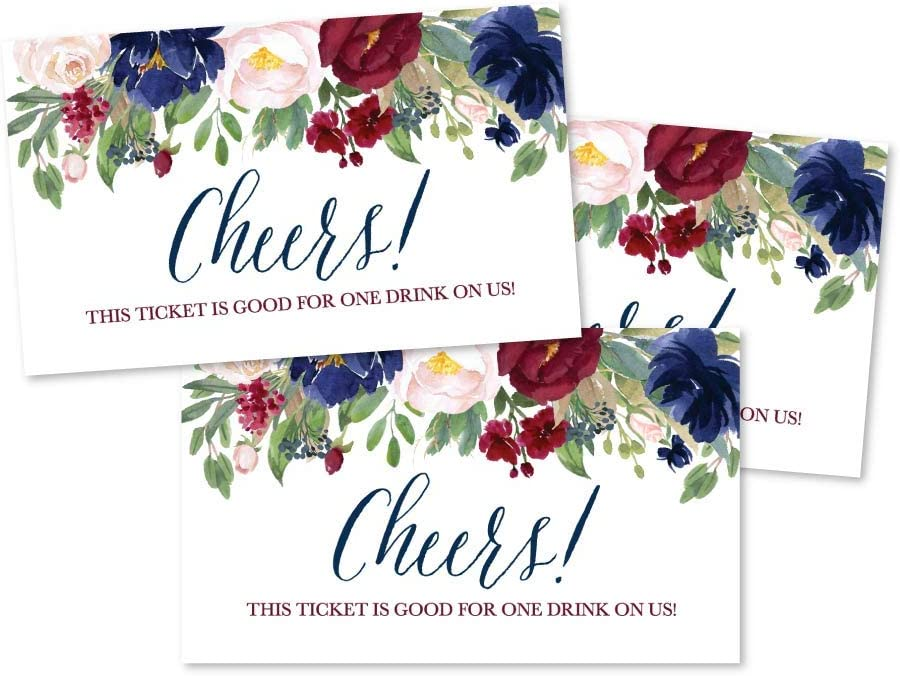 50 Burgundy Floral Drink Ticket Coupons for a Free Drink at Weddings, Work Events or Party Bar, One Free Beer Wine Alcohol Soft Drink or Food Vouchers, Flower Cheers Large Drinking Paper Raffle Cards