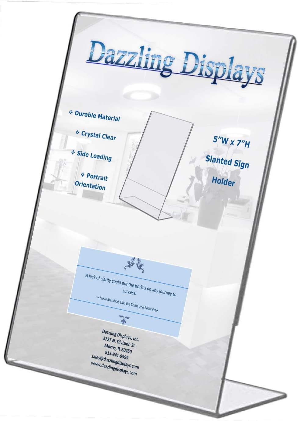 Dazzling Displays Clear 5 x 7 Slanted Sign Holders (3)