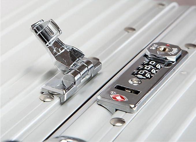 Aleación de aluminio y magnesio Caja de la carretilla Caster Caja de aluminio completa Tronco de negocios Maleta de hombres y mujeres Caja metálica , retro ...