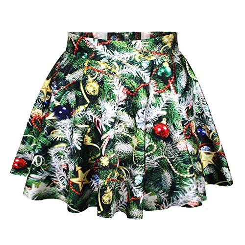 LaSuiveur Girls Christmas Tree Printed Pleated Mini Tutu Skirts