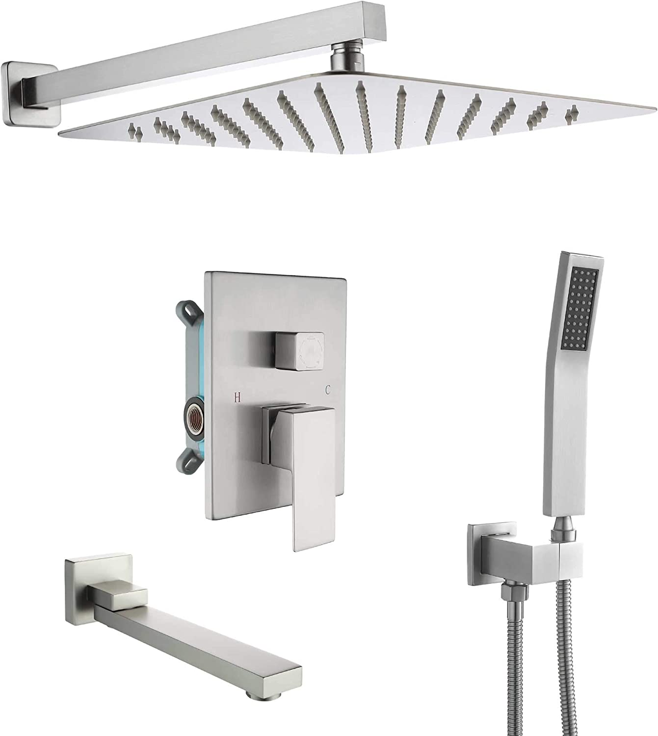 Dobrass Tub Shower Faucets Set Complete With Pre Embedded Valve 10 Inch Square Waterfall Shower Head System With Handheld Shower And Tub Spout Bathroom With Bathtub Wall Mounted Brushed Nickel Amazon Com