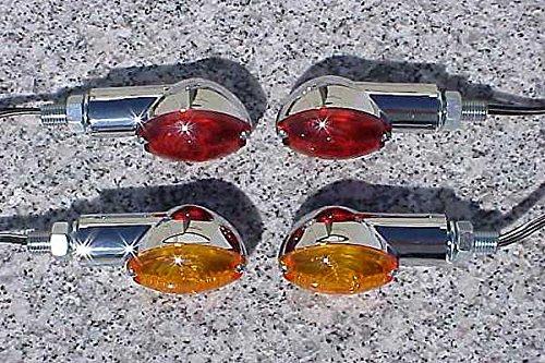 i5 Chrome/Amber/Red Cateye Turn Signals for Honda Kawasaki Suzuki Yamaha Harley