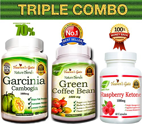 Triple Combo Garcinia Cambogia + Green Coffee Bean + Raspberry Ketone  Extracts from Affordable Natural Health