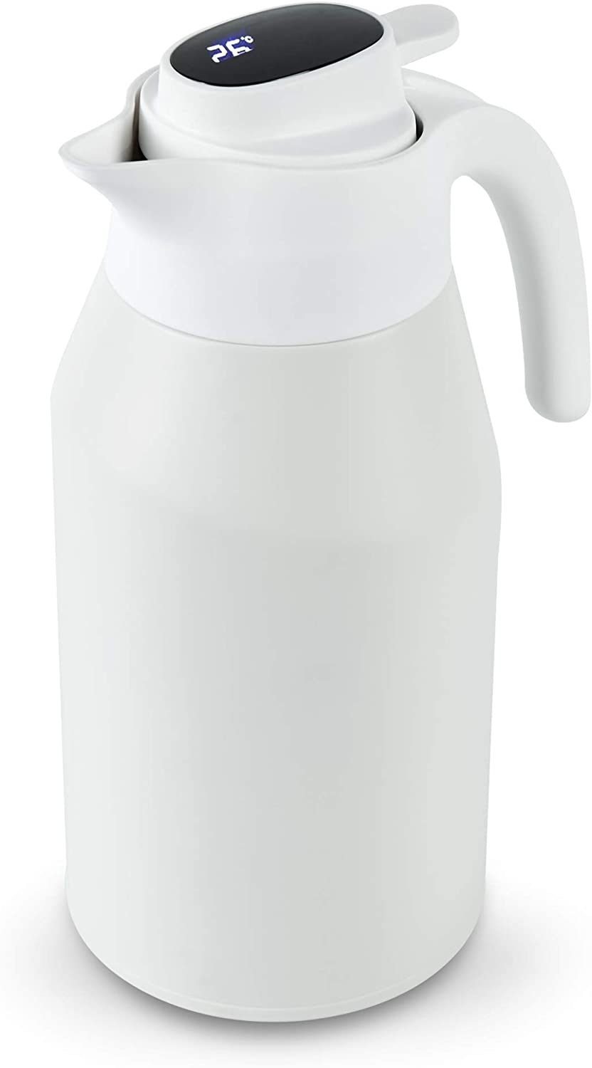 Thermal Coffee Carafe 68 oz, ROCKURWOK Stainless Steel Vacuum Thermos with Temperature Display Lid, Double Walled Insulated Flask,24 Hour Heat Retention, Water& Beverage Dispenser, White