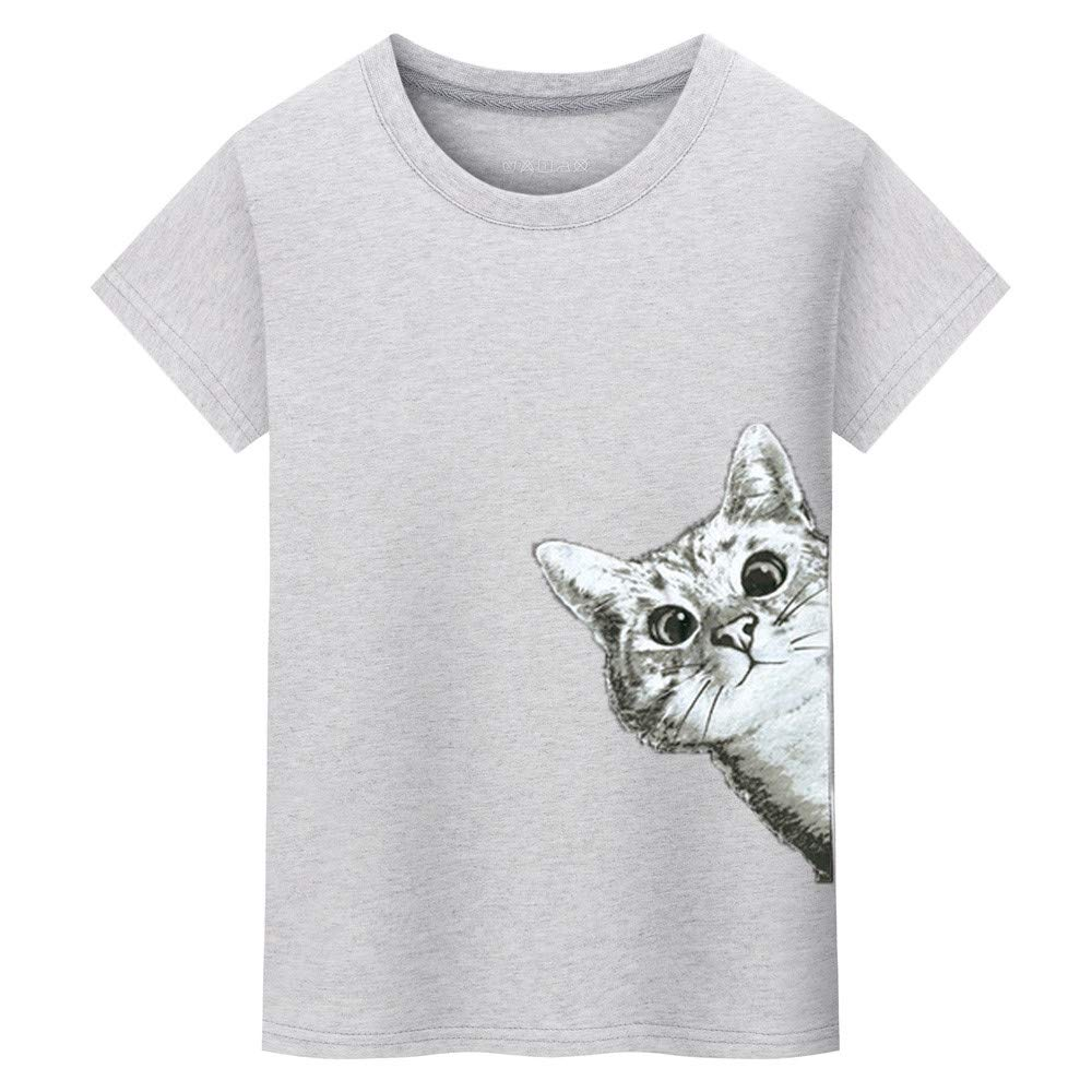NewlyBlouW Mens T Shirt, Cat Printing Tees Male Short Sleeve Tops Soft Cotton O Neck Blouse Gray